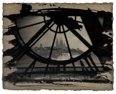 Progressions: Paris, France city skyline & architecture sepia print w/ handwork