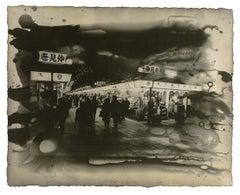 Nakamise Night, Tokyo, Japan: urban night cityscape photograph print w/ handwork