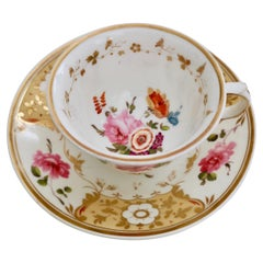 Yates Porcelain Cup and Saucer, Yellow with Roses, Regency, circa 1825