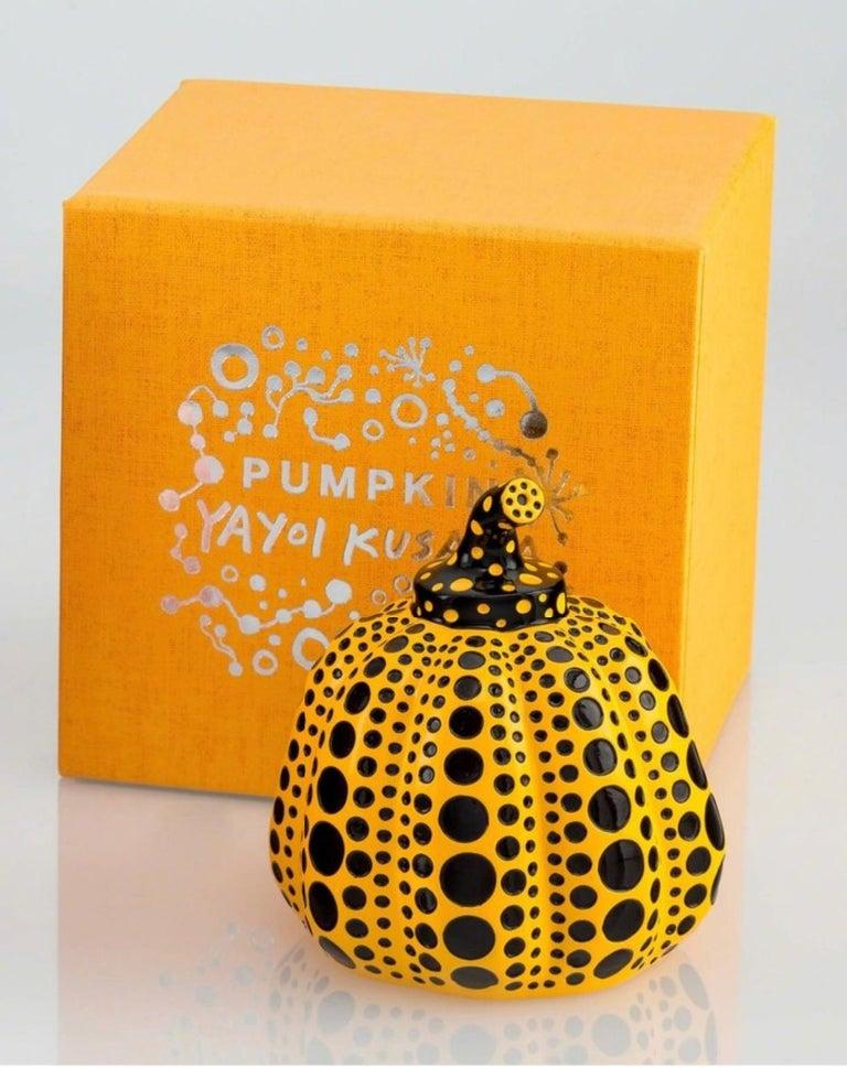 Pumpkin (Yellow & Black), Painted Cast Resin Sculpture, Yayoi Kusama - Pop Art Painting by Yayoi Kusama