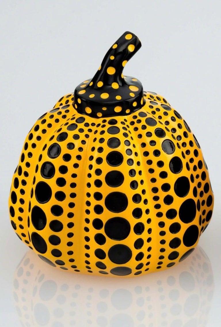 Pumpkin (Yellow & Black), Painted Cast Resin Sculpture, Yayoi Kusama - Painting by Yayoi Kusama