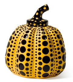 Pumpkin (Yellow & Black), Painted Cast Resin Sculpture, Yayoi Kusama