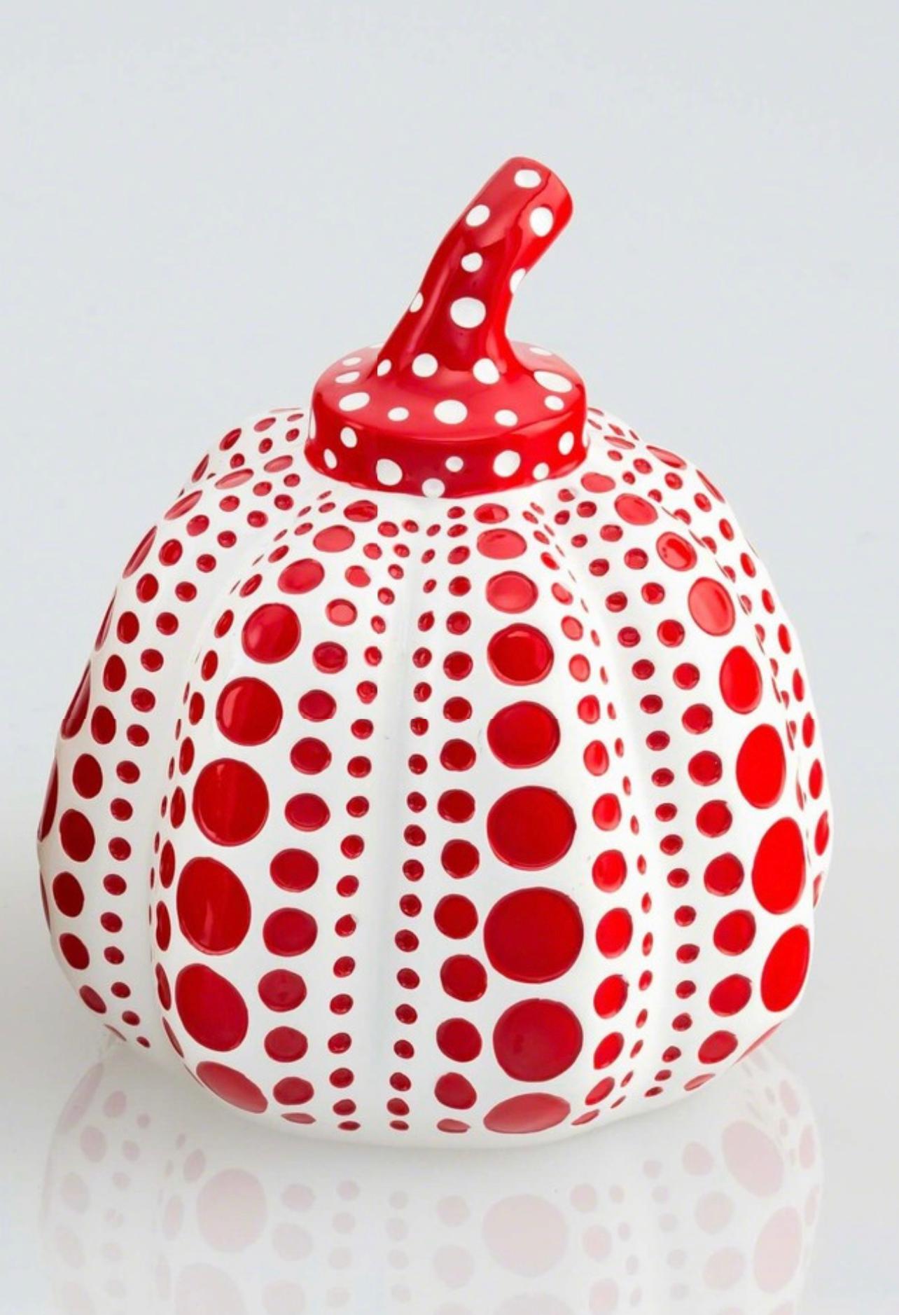Pumpkin (Red & White), Painted Cast Resin Sculpture, Yayoi Kusama