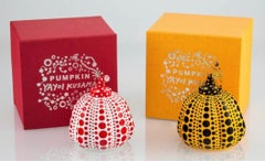 Pumpkins (Yellow & Black & Red & White) Two Painted Sculptures Yayoi Kusama