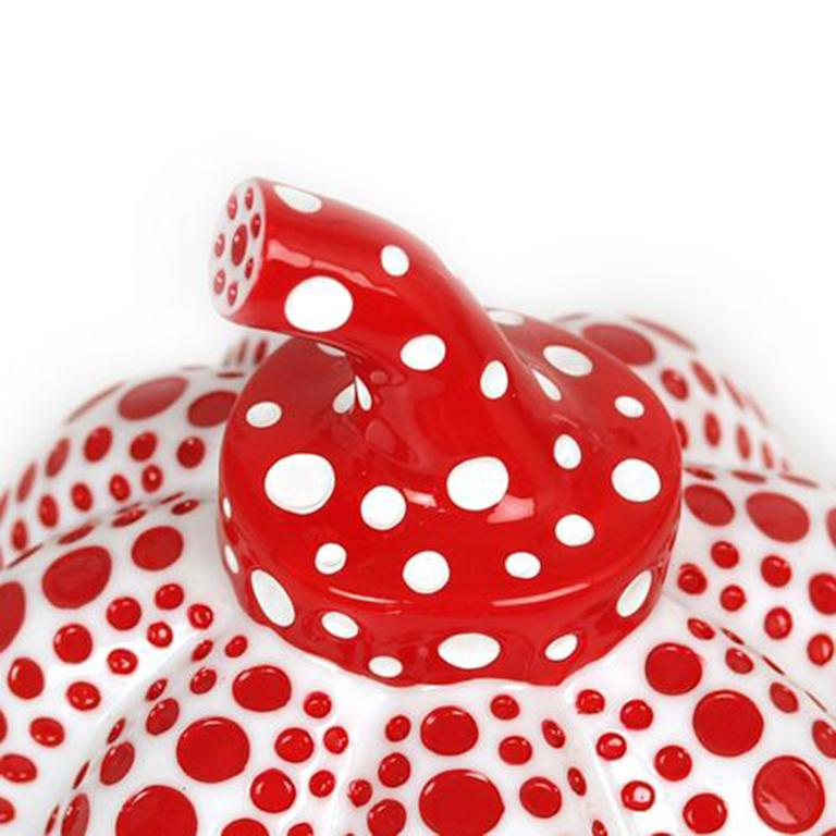 Pumpkin (white) Date of creation: 2016 Medium: Sculpture Media: Resin Edition: Open Size: 9,5 x 7,5 cm Observations: Sculpture created with high quality resin stamped on its base with Yayoi Kusama's copyright. Published by Benesse Holdings, Inc.,