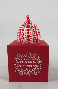 Yellow Pumpkin (Dot Obsession Red) - Original sculpture with original case