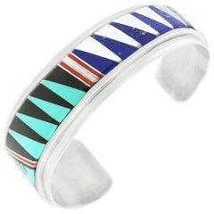 Yazzie Family Inlaid Stone Sterling Cuff Bracelet Navajo
