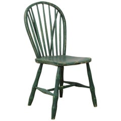 Yealmpton Side Chair, Old Green Paint, English, West Country, 1820s, Country