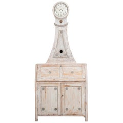 Year 1800 Swedish Gustavian Clock Cabinet and Bureau