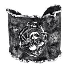 Year of the Dragon Organic Silver Adjustable Cuff Bracelet