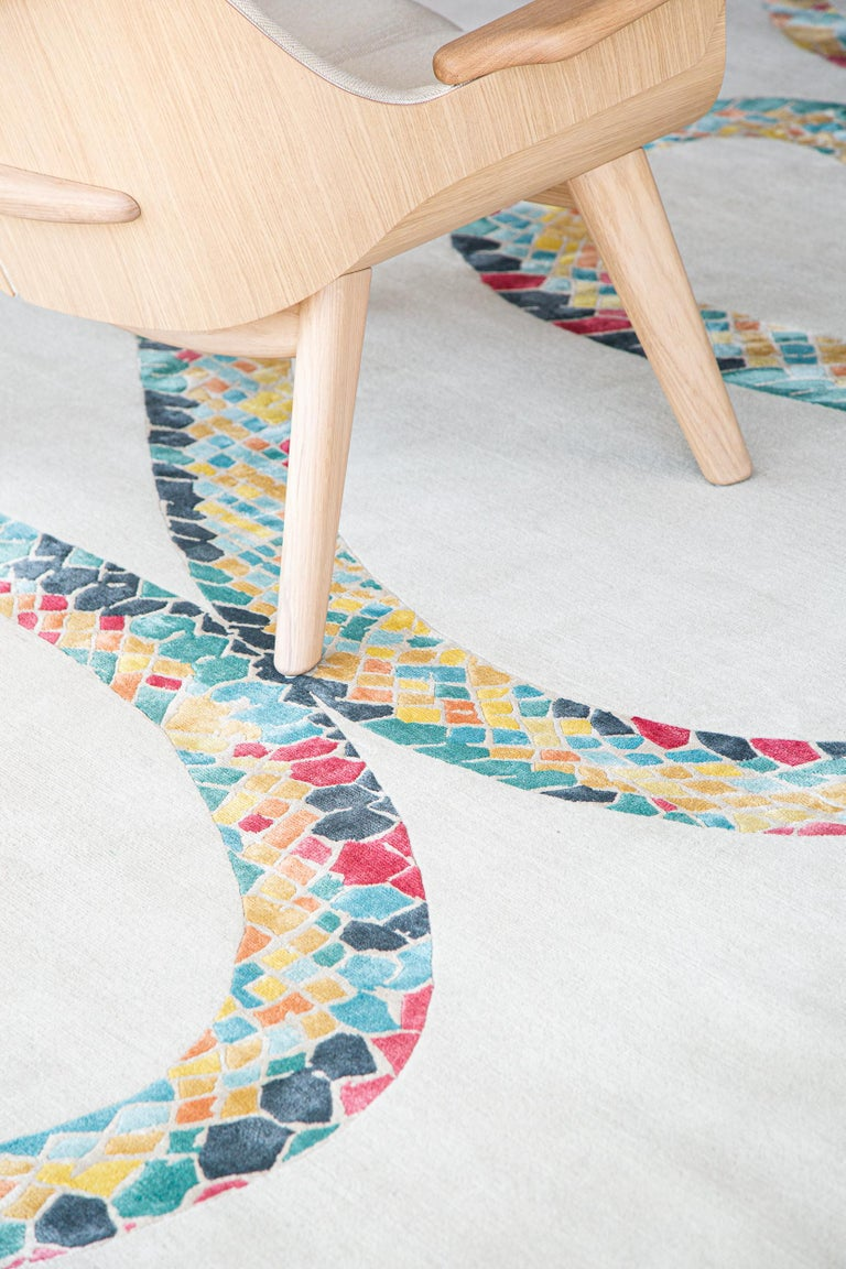 Contemporary Year of the Snake by Liesel Plambeck, Modern Snake Rug For Sale
