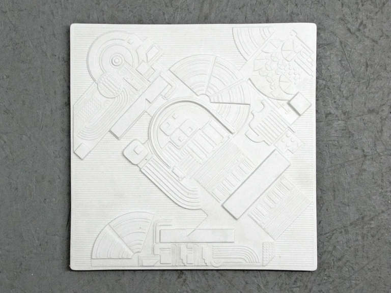 Amazing bisque porcelain year plate, designed by Eduardo Paolozzi for Rosenthal, number 1620 from a limited series of 3000, complete with certificate and original box. Priced individually.