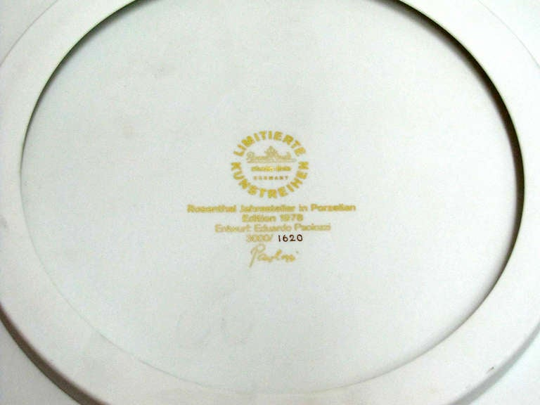 Porcelain Year Plate by Eduardo Paolozzi for Rosenthal, 1978 For Sale