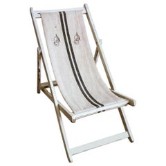Years 1950s Chaise Longue for the Beach in Raw Cotton and Wood, Italy
