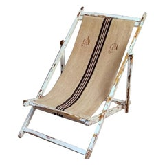 Years 1950s Long Chair for the Beach in Raw Cotton and Wood, Italy