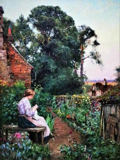 """""""Girl in the Cottage Garden"""", Summer English country landscape, oil on canvas"""