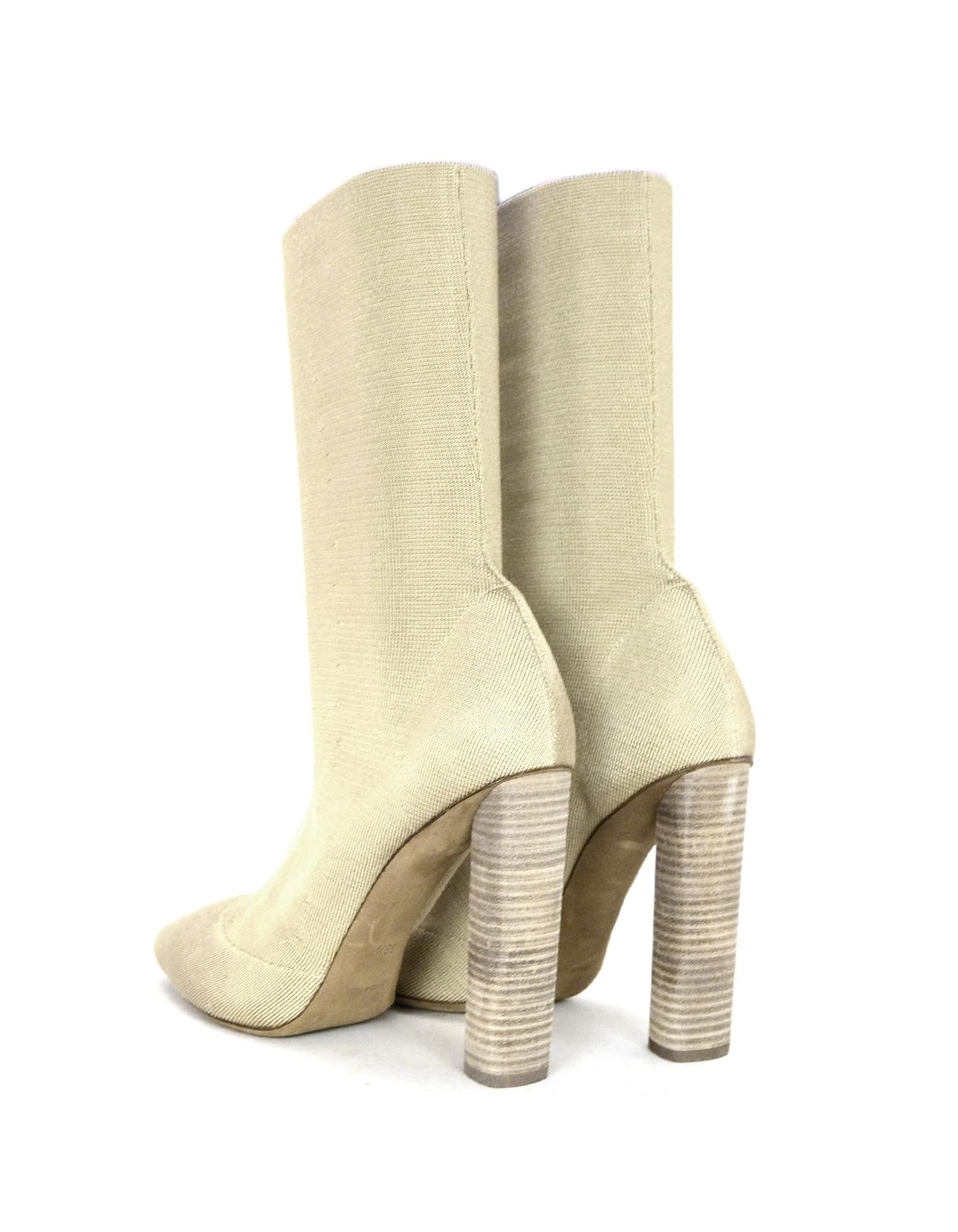 a5cce8f0c5df9 Yeezy Season 2 Beige Sock Heeled Boots Sz 39.5 For Sale at 1stdibs