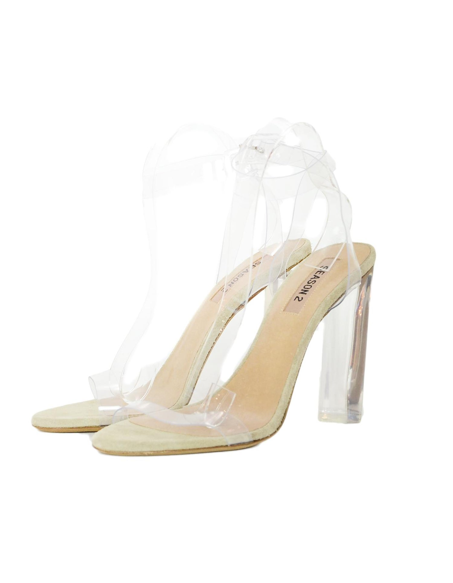 c4d8a189f48 Yeezy Season 2 Tan Suede Clear PVC Sandals Sz 39.5 For Sale at 1stdibs