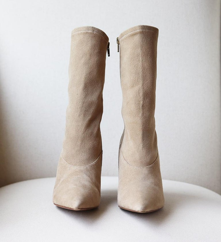 Brown Yeezy Season 5 Stretch-Suede Ankle Boots For Sale