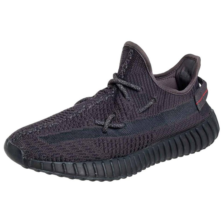 Yeezy x Adidas Black Knit Fabric Boost 350 V2 Sneakers Size 42 2/3 For Sale