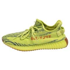 Yeezy x Adidas Green/Blue Knit Fabric Boost 350 V2 Zebra Sneakers Size 47 1/3