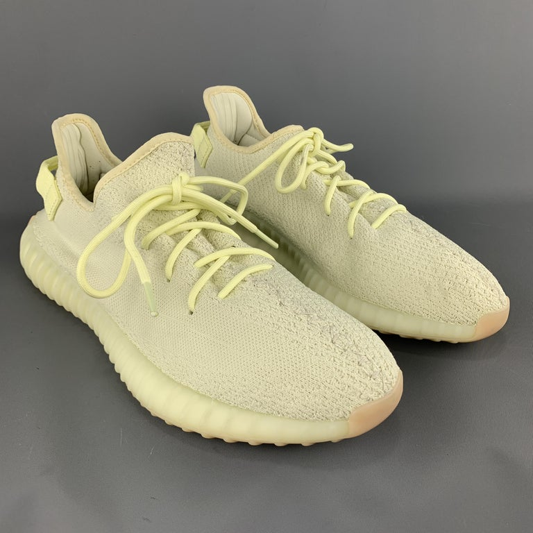 huge discount 58a63 a8f14 YEEZY X ADIDAS Size 12 Butter Yellow Solid Nylon Lace Up Sneakers