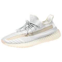 Yeezy x Adidas White/Grey Knit Fabric Boost Non-Reflective Sneakers Size 45.5