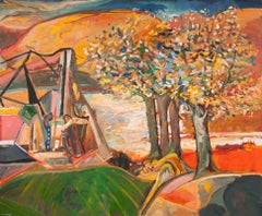 Across the River, Contemporary, Colourful, Expressionistic, Landscape