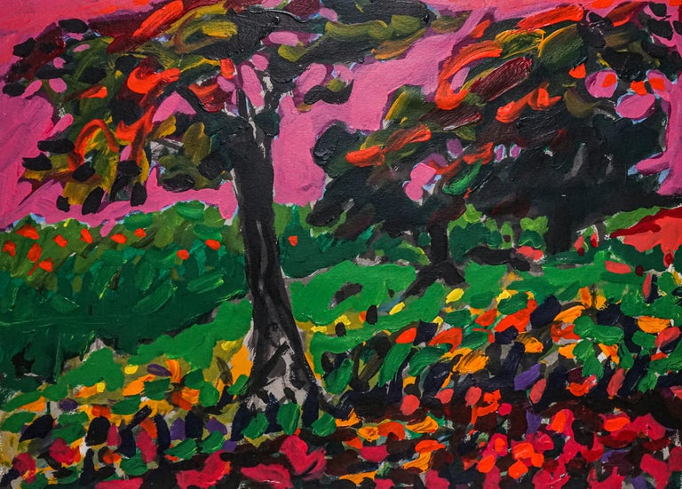 Fauvist Post Impressionist French Canadian Landscape - Black Landscape Painting by Yehouda Chaki