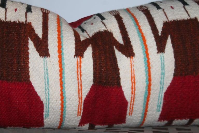 Adirondack Yei Navajo Indian Weaving Bolster Pillow For Sale