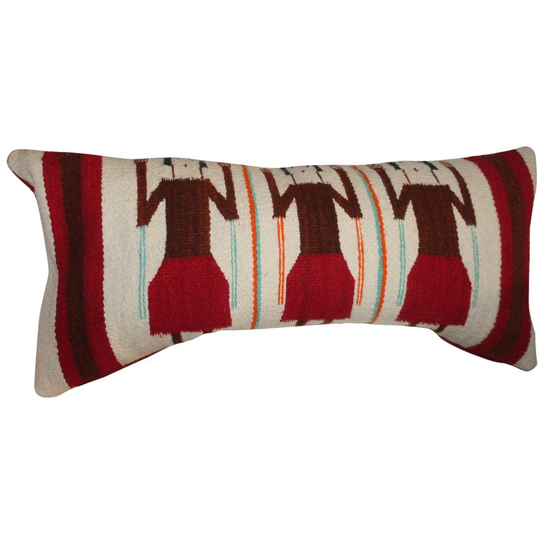 Yei Navajo Indian Weaving Bolster Pillow For Sale