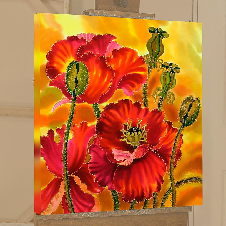 <p>Artist Comments<br> Poppies are one of my favorite subject to paint. They are cheerful and a pleasure for the eyes. I love how flowers appear on silk.  This piece is made using dyes and acrylic paints on Chinese silk. When applied, liquid dyes
