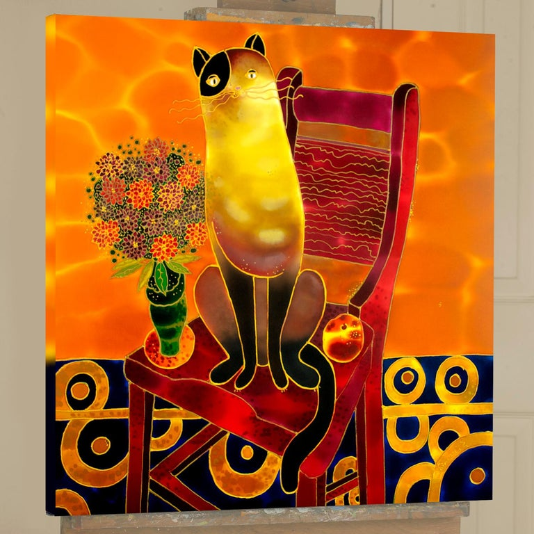 <p>Artist Comments<br> Artwork from my Cats series. I am a cat person; I love having them in my home. I own two beautiful cats, whose grace and elegance inspire me to make cats a recurring theme in my art.  This piece is made using dyes and acrylic