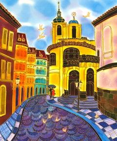 Old Street in Prague, Original Painting