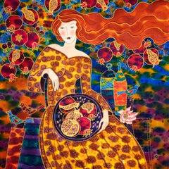 Pomegranate Harvest Time, Original Painting