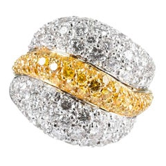 Yellow and White Diamond Dome Ring, Signed Luca Carati
