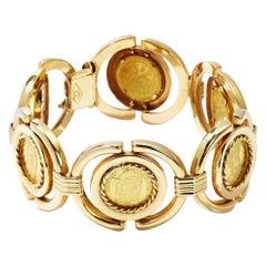 Yellow 18 Karat Gold Link Bracelet, 1970s