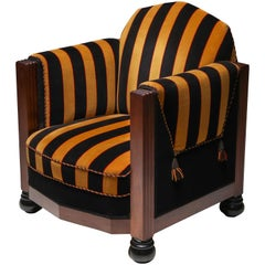 Yellow and Black Velvet Art Deco Club Chair