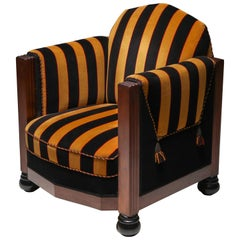 Yellow and Black Velvet Art Deco Club Chair