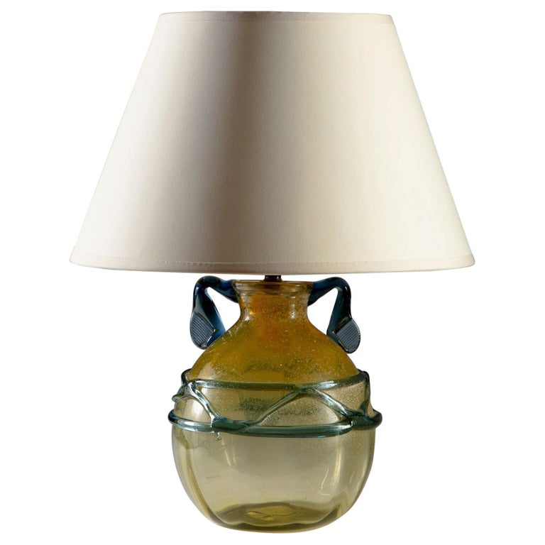 Yellow and Blue Murano Glass Vase as a Table Lamp For Sale