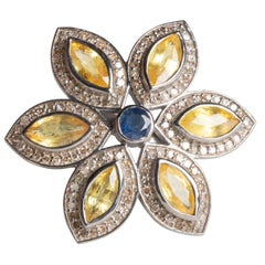 Yellow and Blue Sapphire, Diamond Flower Petal Cocktail Ring