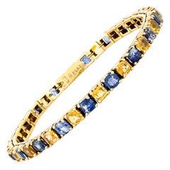 Yellow and Blue Sapphire Tennis Bracelet