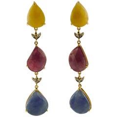 Yellow and Blue Sapphires, Rubies, Tsavorites, Diamonds Rose Gold Drop Earrings