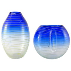 Barbini Murano Yellow and Blue Stripe Glass Vase Set