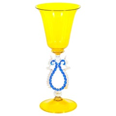Yellow and Blue Venetian Goblet with Gold Finishes in Murano Glass, Italy, 1990s