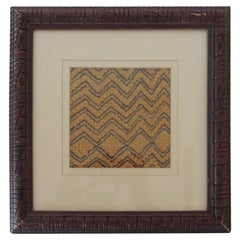 Yellow and Brown Framed African Kuba Cloth Textile