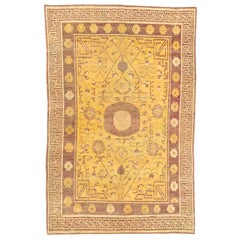 Yellow and Brown Vintage Samarkand 'Khotan' Carpet