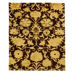 Yellow and Chocolate Brown European Inspired Rug