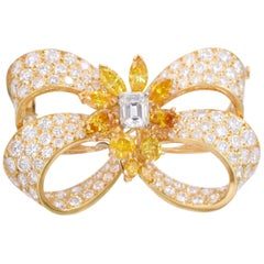 Yellow and Colorless Diamond Bow Brooch