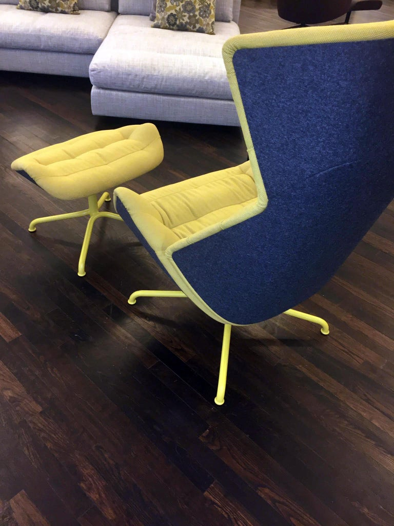 Frame: Steel tube lacquered TS 2050 mustard Inner cushion: Novum pear Outer Shell: Formfleece Gliders: Plastic 808 H ottoman Original Price:$7,750 Ottoman: W 63 cm H 40 cm D 45 cm The lounge chair 808 plays with the contrast between